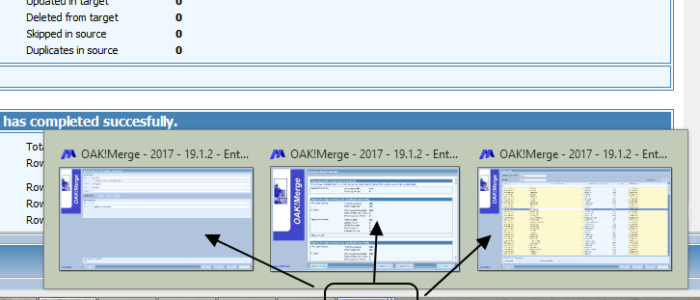 How to switch between multiple additional instances of OAKMerge