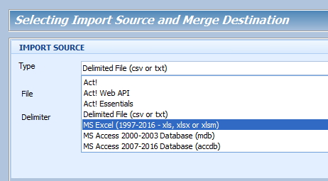 New XLS_XLSX_XLSM choice in the source menu
